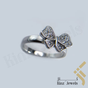 kinzjewels - Sterling Silver Rhodium Vermeil Butterfly Full Zircon Wings Ring