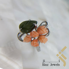 kinzjewels - Handcrafted Sterling Silver Coral Flower & Leaf Ring
