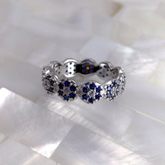 kinzjewels - Sterling Silver Rhodium Vermeil Small Eyes Navy Flower Circles Ring