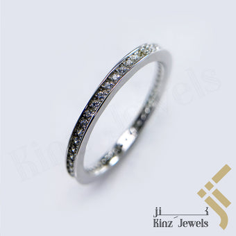 kinzjewels - Sterling Silver Rhodium Vermeil Simple One Line Zircon Ring