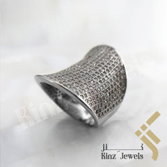 kinzjewels - Sterling Silver Free Rhodium Vermeil Saddle Inspired Full Zircon Ring