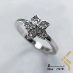 kinzjewels - Sterling Silver Rhodium Vermeil Simple Flower With Zircon Ring