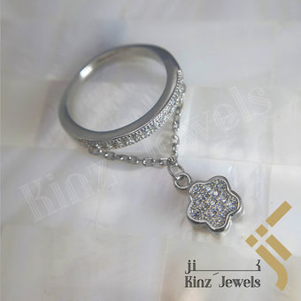 kinzjewels - Sterling Silver Rhodium Vermeil Small Flower Hanging With Zircon Ring