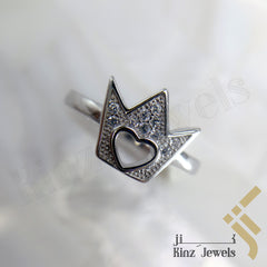 kinzjewels - Sterling Silver Rhodium Vermeil Crown & Heart Hole Shaped Ring