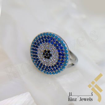 kinzjewels - Sterling Silver Blue Evil Eye Zircon Turquoise, Navy, Black, White Ring