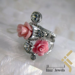kinzjewels - Handcrafted Sterling Silver Two Rose Coral Flower & Zircon Ring