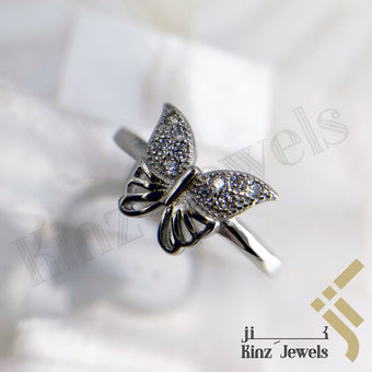 kinzjewels - Sterling Silver Rhodium Vermeil Butterfly Zircon Wings Ring