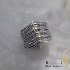kinzjewels - Sterling Silver Free Rhodium Vermeil Five Zircon Lines Wave