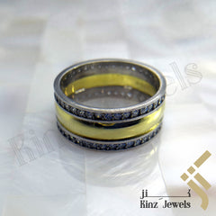 kinzjewels - Sterling Silver Gold & Rhodium Vermeil Between Zircon Frame Ring