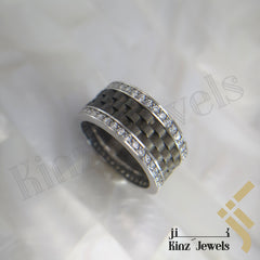 kinzjewels - Silver Rhodium Vermeil Carbon Fiber Inspired With Zircon Frame Ring