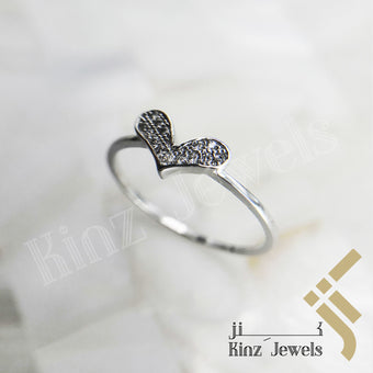 kinzjewels - Sterling Silver Free Rhodium Vermeil Simple Heart Ring