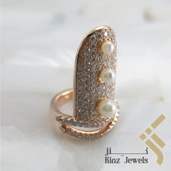 kinzjewels - Sterling Silver Rose Gold Vermeil  Zircon & Pearls Nail Ring