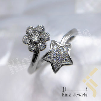 kinzjewels - Sterling Silver Zircon Flower and Star Free Size Rhodium Vermeil Ring