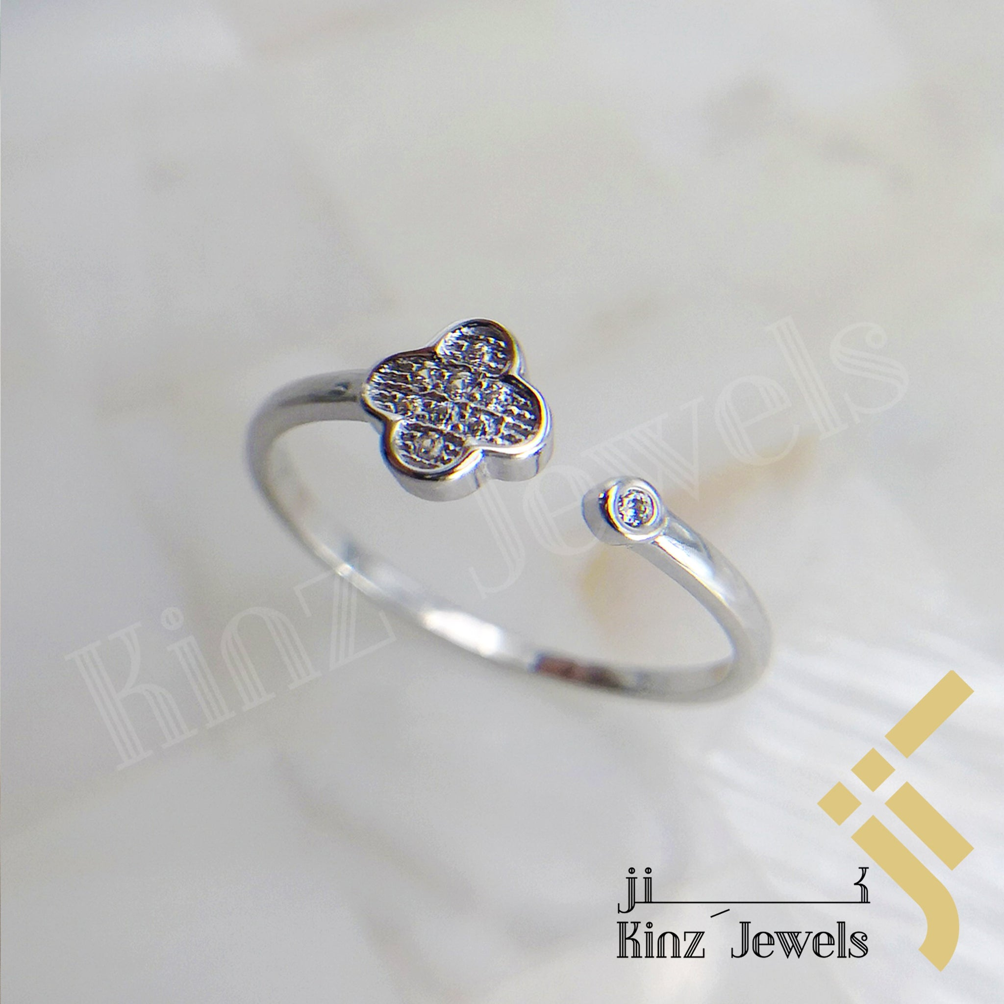 kinzjewels - Sterling Silver Free Size Simple Flower Rhodium Vermeil Ring