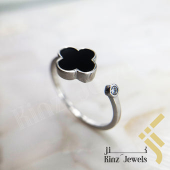 kinzjewels - Sterling Silver Free Size Black Enamel Flower Rhodium Vermeil Ring
