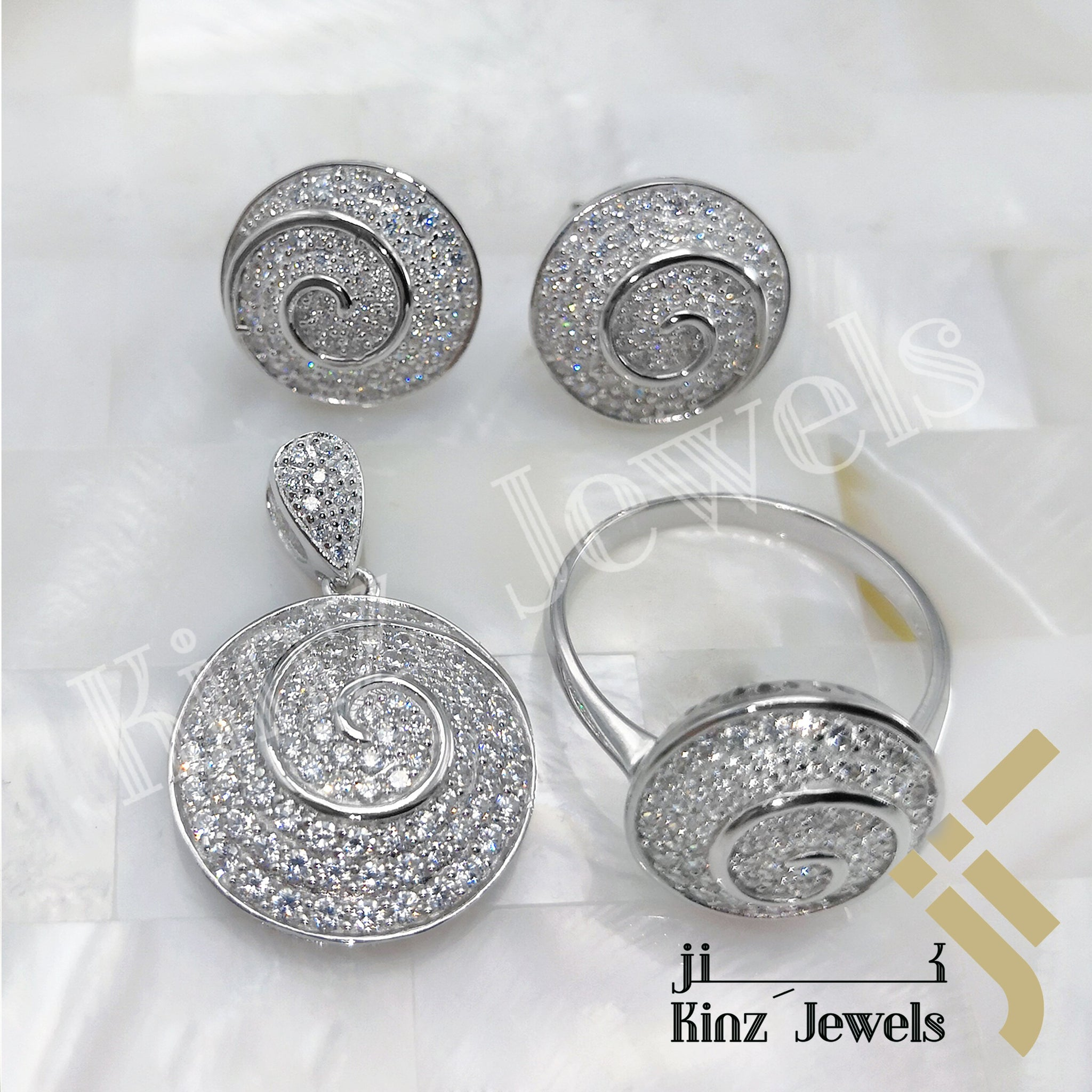 kinzjewels - Sterling Silver Rhodium Vermeil Spiral Full Zircon Jewelry Set