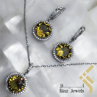 kinzjewels - Sterling Silver Rhodium Vermeil Hazel Zircon Jewelry Set