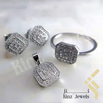 kinzjewels - Sterling Silver Rhodium Vermeil Fine Laser Cut Square Zircon Jewelry Set