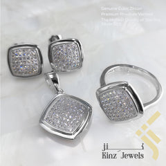 kinzjewels - Sterling Silver Rhodium Vermeil Fine Laser Cut Full Zircon Jewelry Set