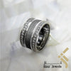 kinzjewels - Sterling Silver Rhodium Vermeil Carbon Fiber Inspired & Zircon Ring