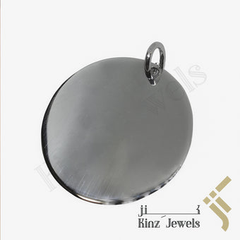 kinzjewels - Personalized Silver Tag Pendant Round Rhodium Vermeil