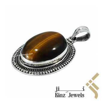 kinzjewels - Handcrafted Tiger's Eye Pendant 925 Silver