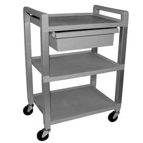 3 Shelf Vinyl Cart W/Drawer