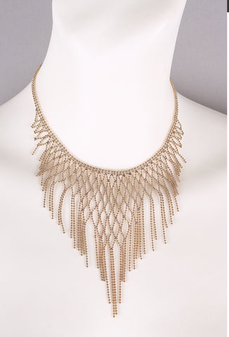 Beaded Waterfall Bib Necklace Gold