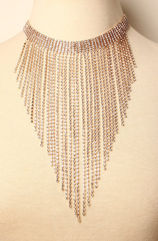 Rhinestone Bib Necklace Gold