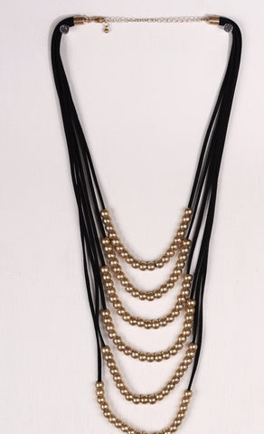 Layered Beaded Black/Gold Necklace