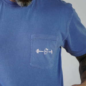 Skull Peri Blue Pocket T