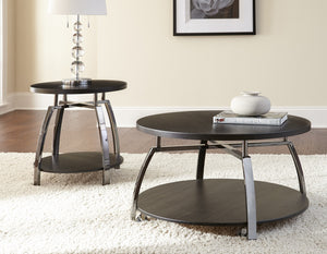 dark brown cofffee table table with chrome accents