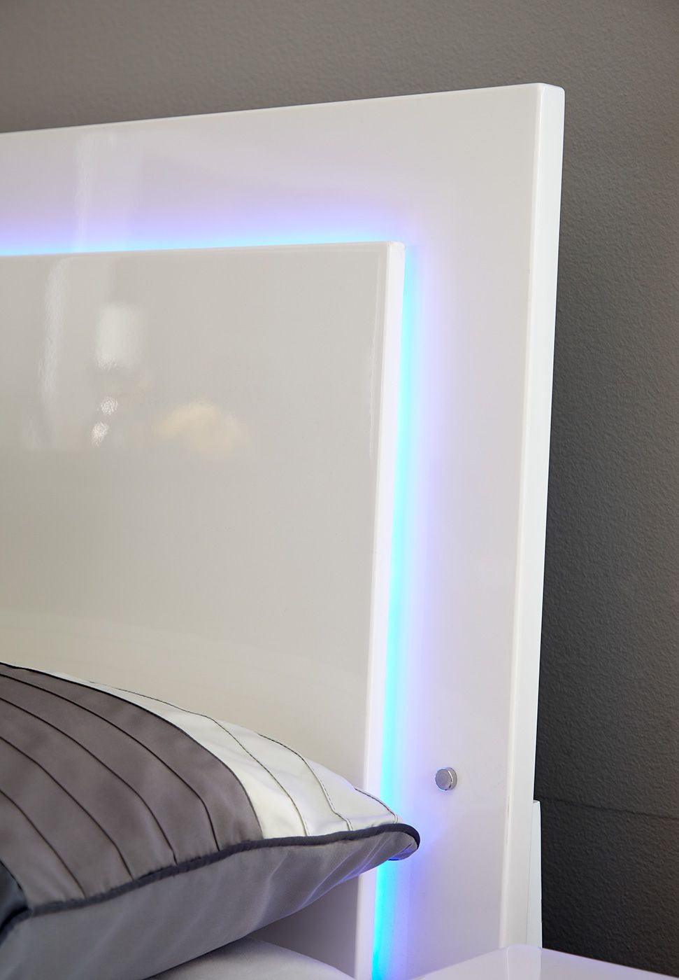 white modern bed with blue led light