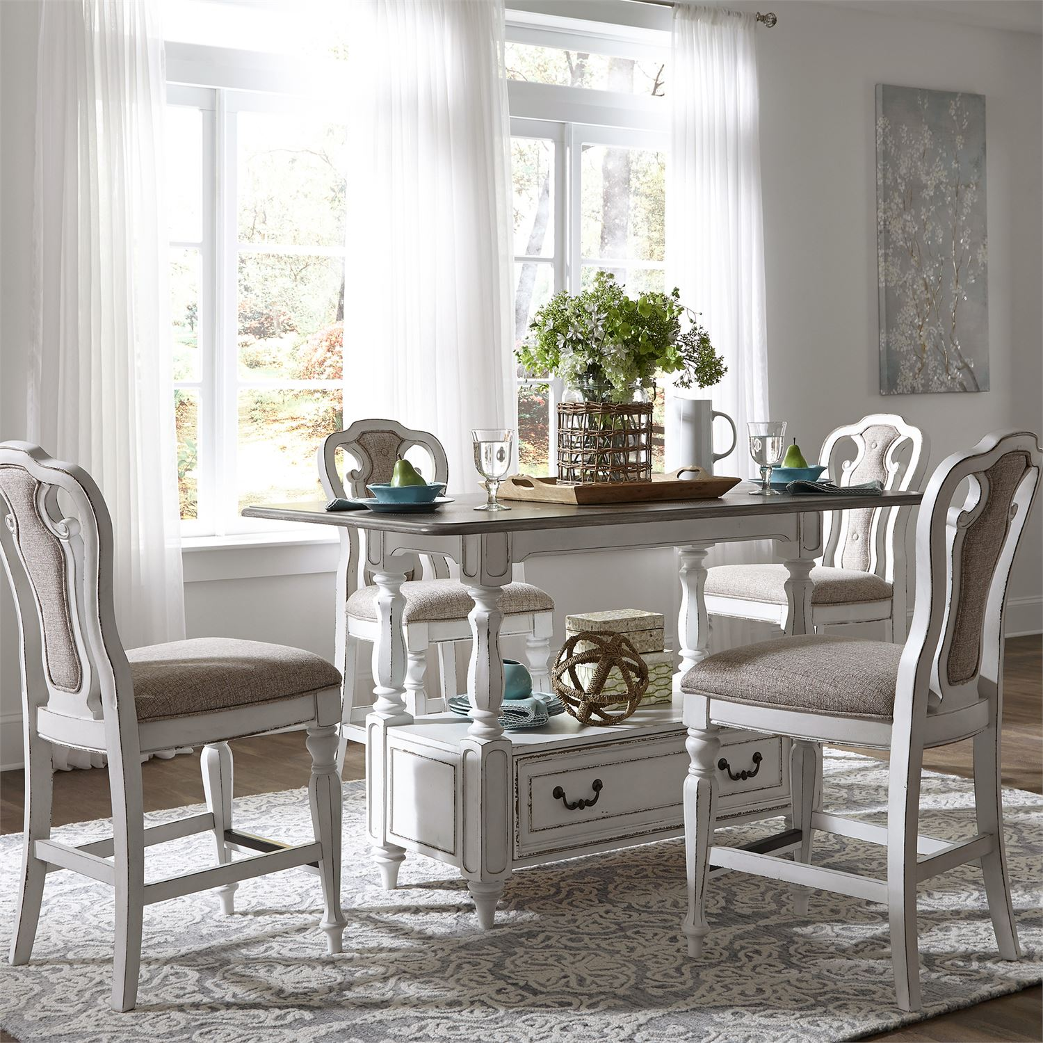 Magnolia Manor Antique White Rectangular Counter Height Dining Room Set  LIB 244 GT3660
