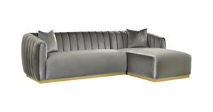Grisby 2-Piece Channeled Tufted Back Sectional Silver