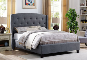 Eva Grey Upholstered Bed