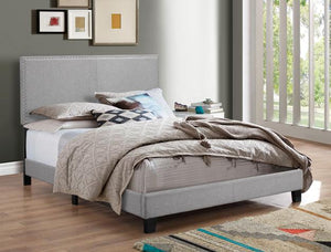 ERIN GRAY BED WITH NAIL HEAD TRIM
