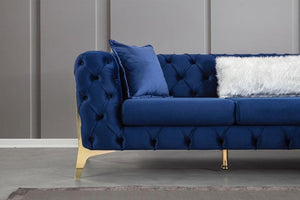 Velvet Blue RAF Chaise Sectional