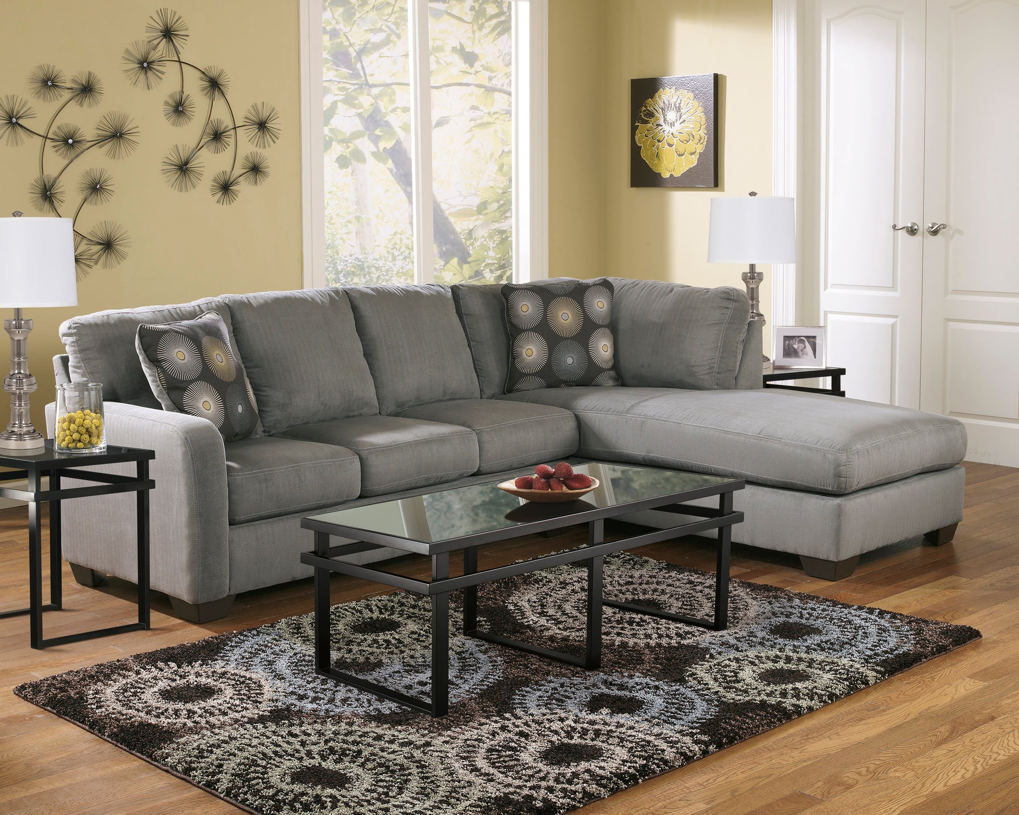Miraculous Zella Charcoal Right Arm Facing Sectional Pdpeps Interior Chair Design Pdpepsorg