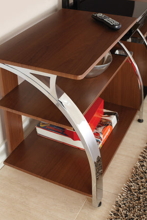 medium brown tv stand with chrome sides  modern