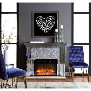 Noralie Fireplace - 90455 - Mirrored & Faux Diamonds