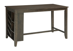 Rokane Light Brown Rectangular Counter Table with Storage d397-32