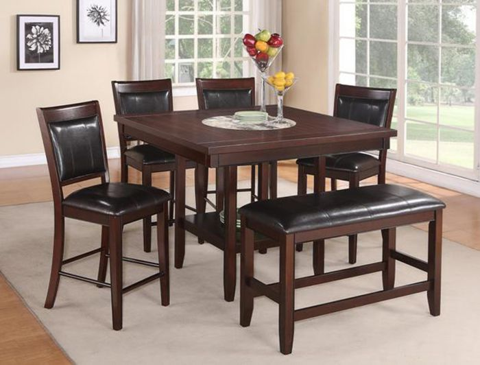 Crown Mark Fulton Espresso 5 Pieces Counter Height Table Set