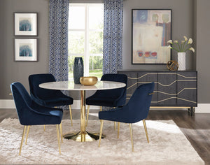 Coaster Kella Round Dining Table Natural Marble and Gold, White with blue velvet chairs