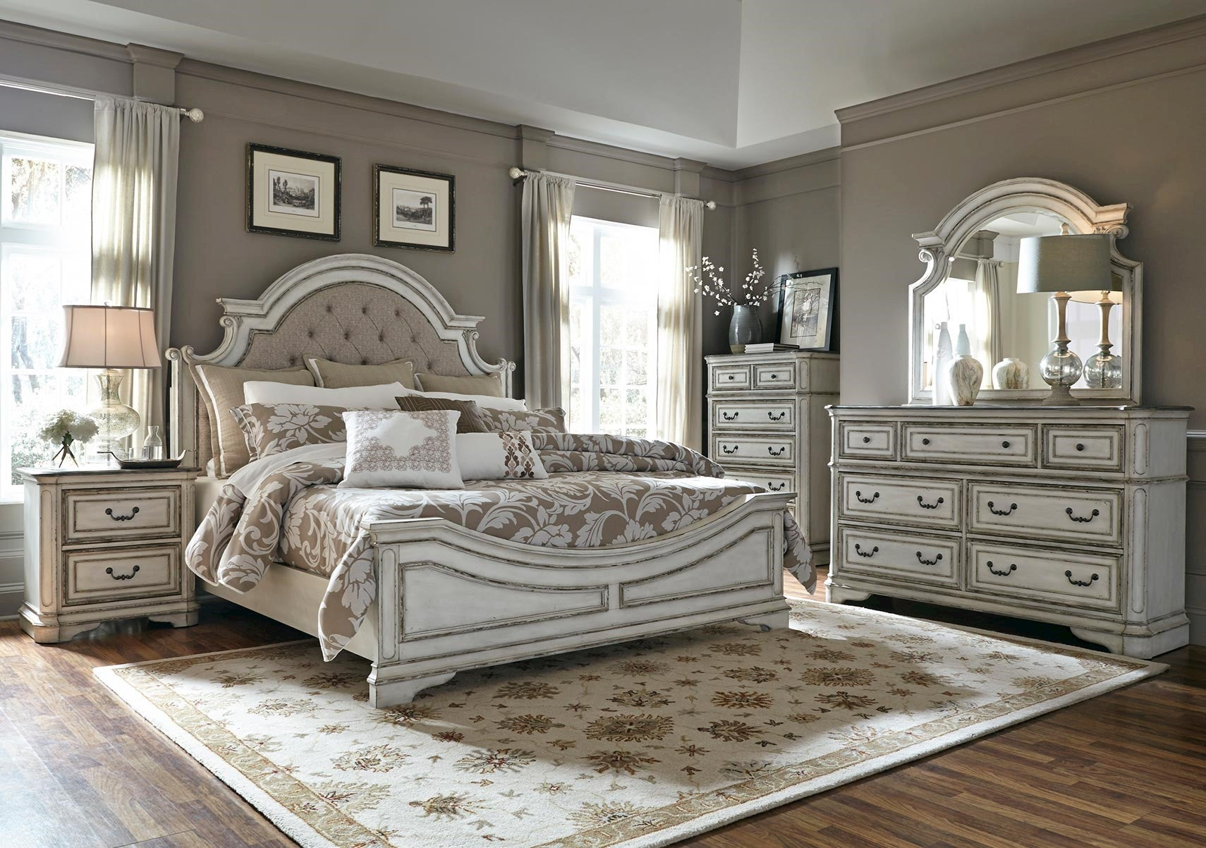 magnolia manor antique white upholstered panel bedroom set 87958