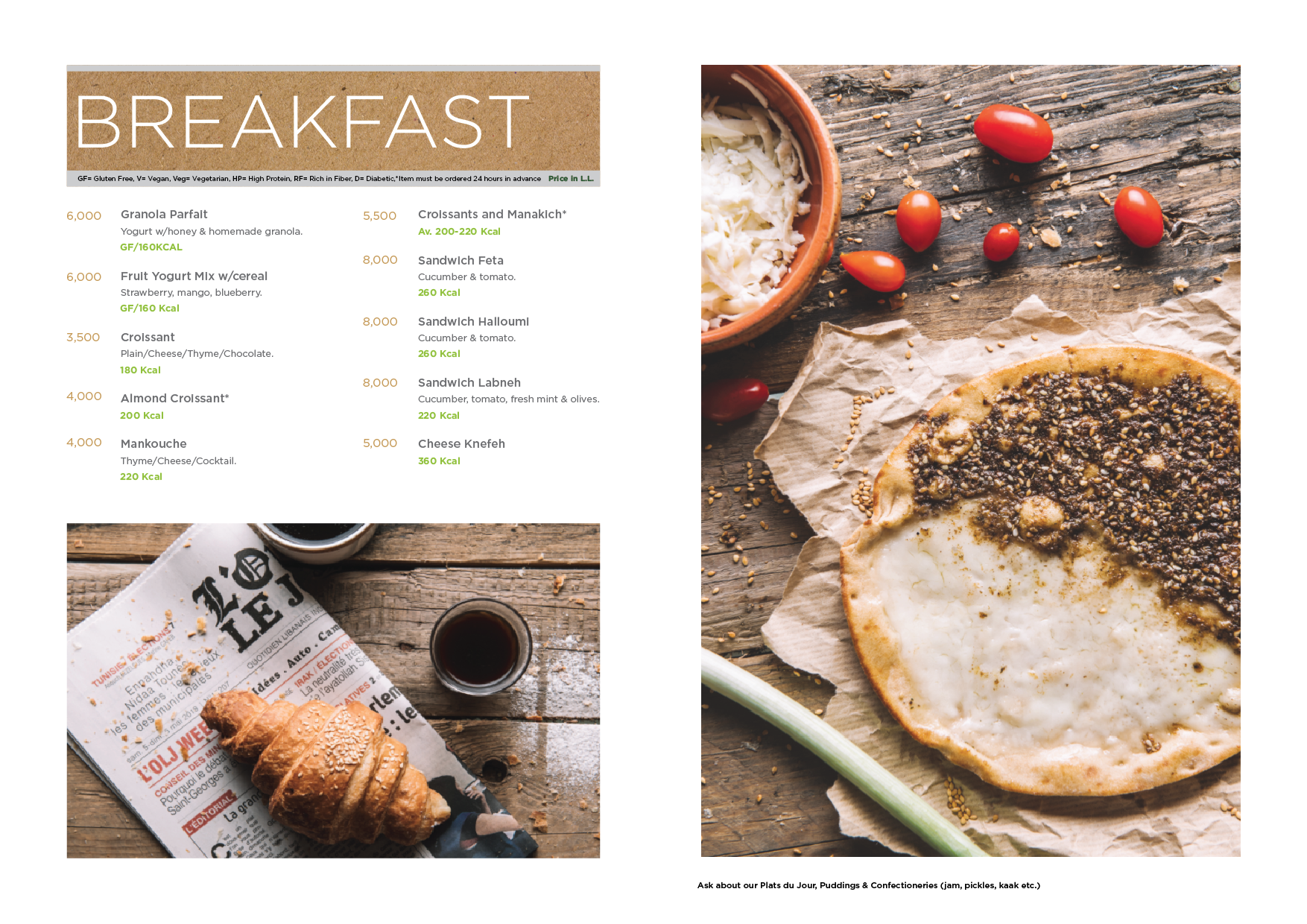 Healthy Breakfast menu