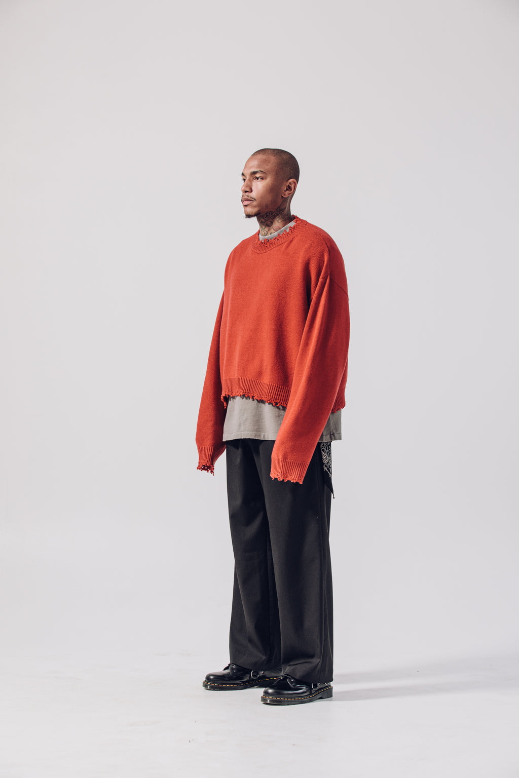 Cropped Cashmere Wool Sweater - Burnt Orange