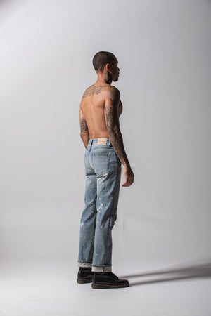 Repaired Overwash Jeans - Light Blue