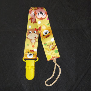 PACIFIER CLIP YELLOW MONKEY