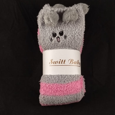 CAT PINK & GREY KNEE HIGH SOCKS - myabdlsupplies